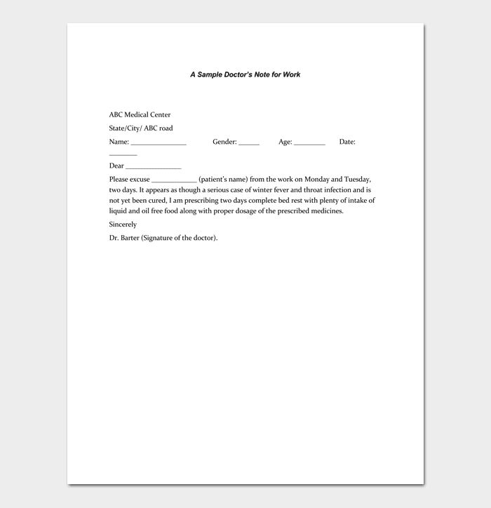 Doctors Note Template - 7+ Fillable Notes for Word & PDF
