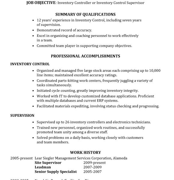 Super Ideas Inventory Resume 1 Resume Sample Inventory Control ...