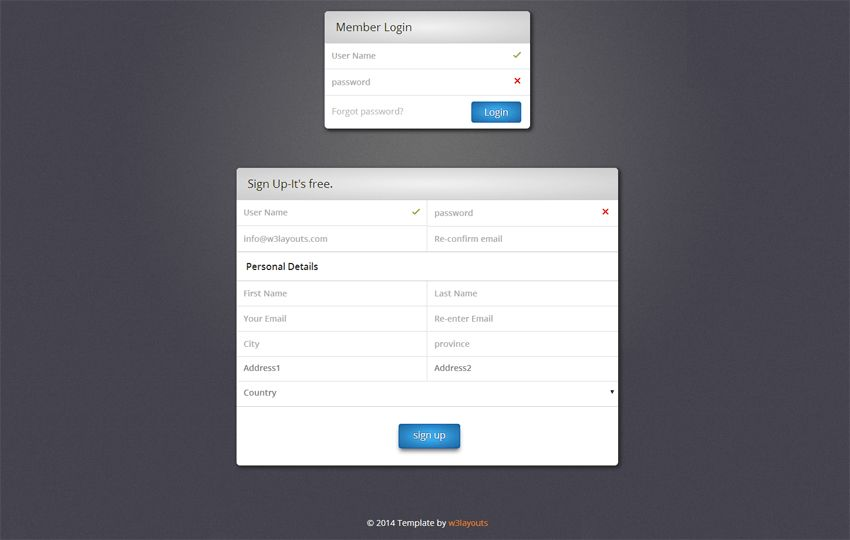 Web Login Form , Signup Form Template by w3layouts