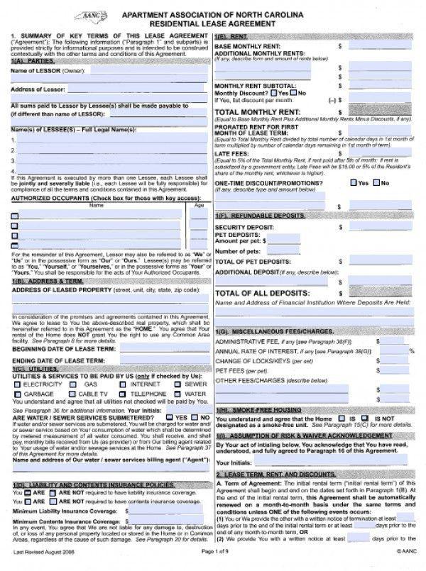 Free North Carolina Residential Lease Agreement | PDF | Word (.doc)