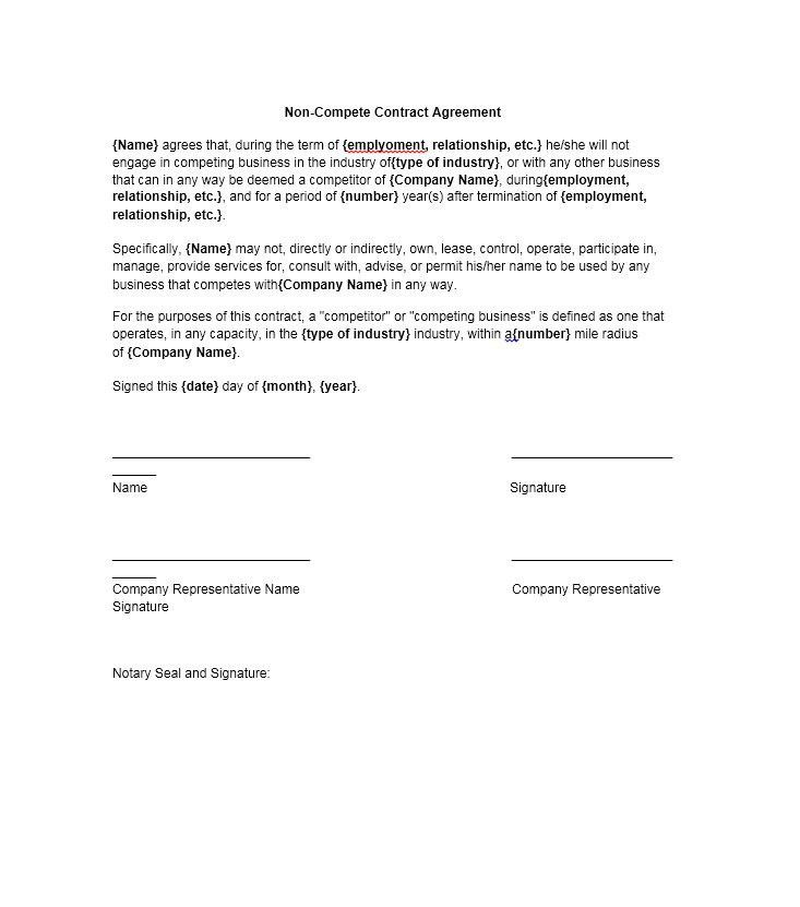 39 Ready-to-use Non-Compete Agreement Templates - Template Lab