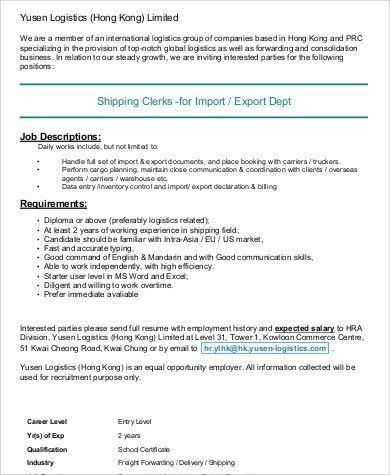 Logistics Clerk Job Description Sample - 7+ Examples in Word, PDF