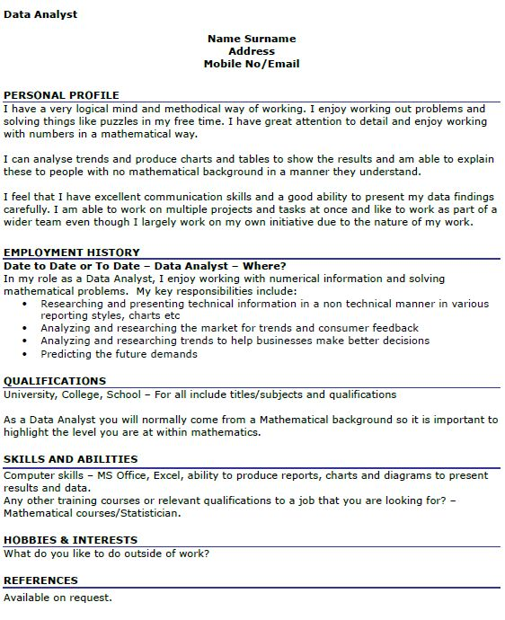 Data Analyst CV Example - icover.org.uk