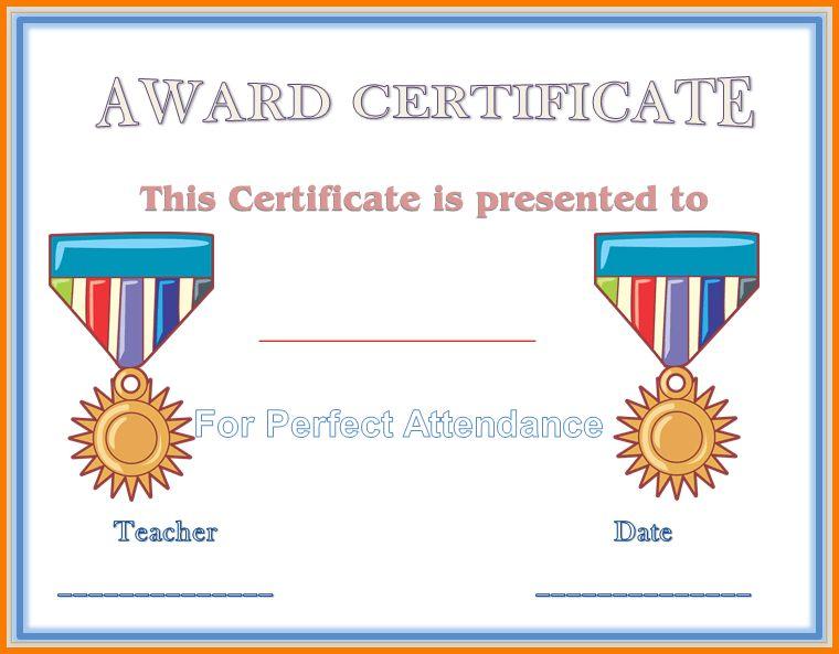 6 perfect attendance certificate template   Receipt Templates