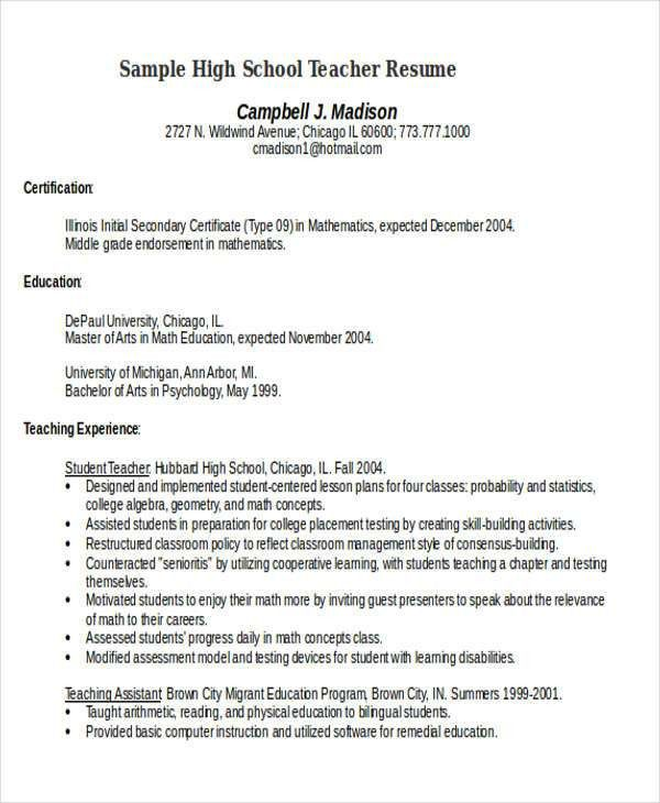 25+ Teacher Resumes in Word | Free & Premium Templates