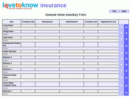 12 Printable Home Inventory Forms