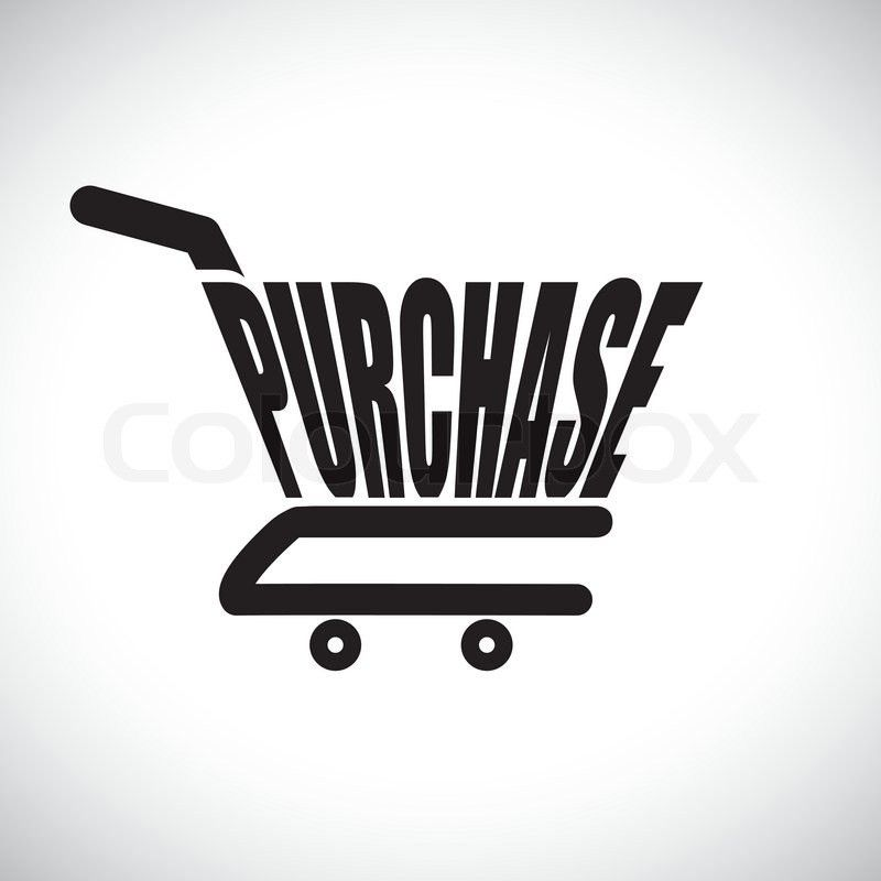 Concept illustration of shopping cart with the word purchase The ...