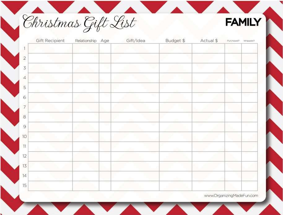 Having an organized Christmas and YOUR free gift! Gift list ...