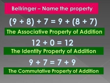 Properties of Addition Lesson 1-4 Three Properties of Addition 1 ...