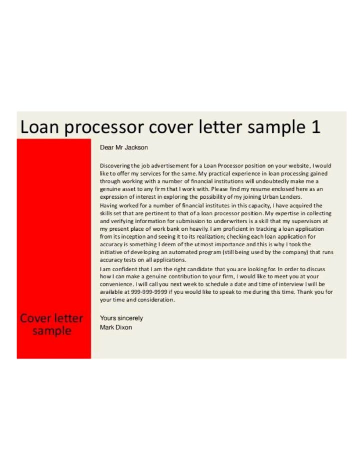 Basic Loan Processor Cover Letter Samples and Templates