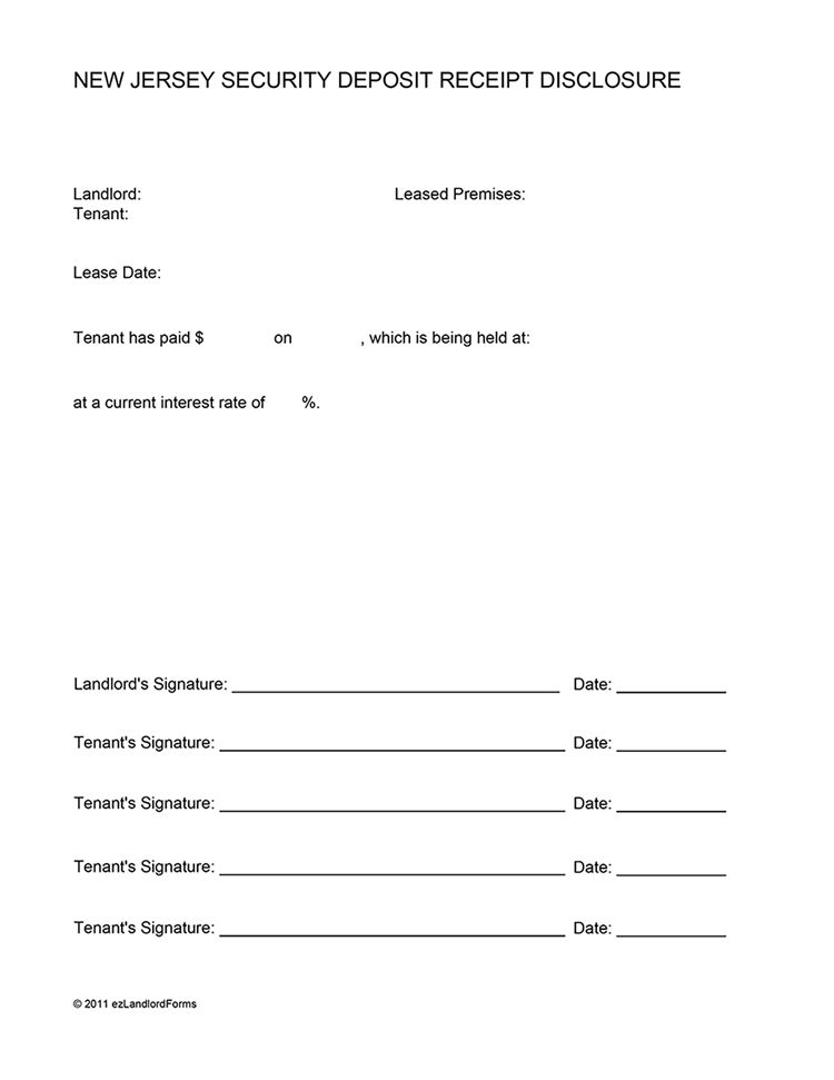 New Jersey Security Deposit Receipt Disclosure | EZ Landlord Forms