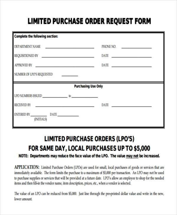 11+ Purchase Order Forms - Free Samples, Examples Formats Download ...