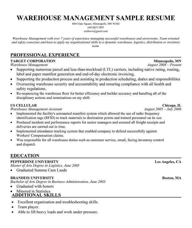 warehouse resume samples   Web Resume