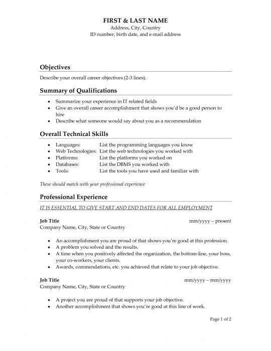 A Great Objective For A Resume [Template.billybullock.us ]