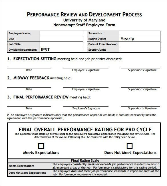 Sample Employee Performance Review Template - 8+ Free Documents ...