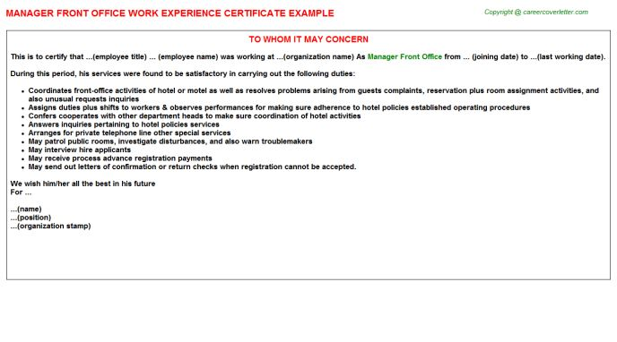 Hotel Front Office Manager Work Experience Letters
