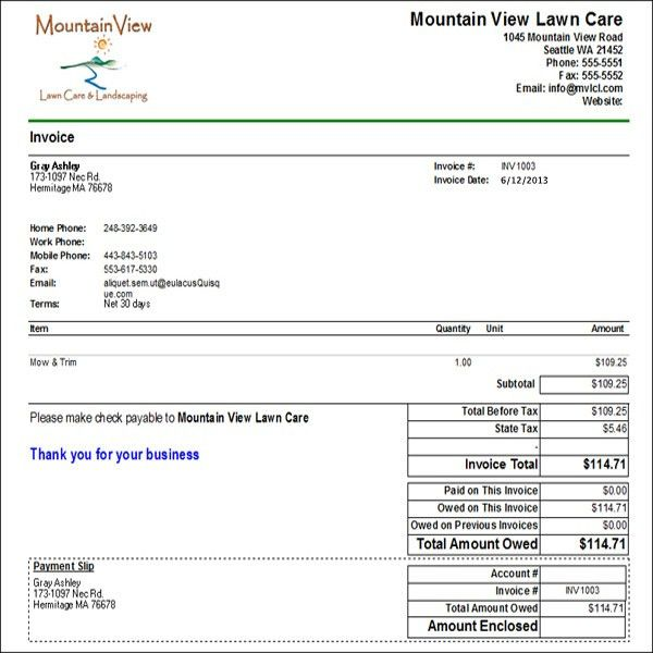 Download Lawn Service Invoice Software | rabitah.net