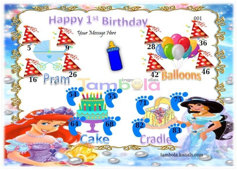 1st Birthday Anywhere 2 in 9x4 format :Templates Tickets | Tambola ...