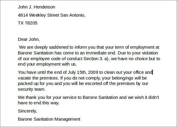 Sample Employment Termination Letter - 6+ Free Documents Download ...