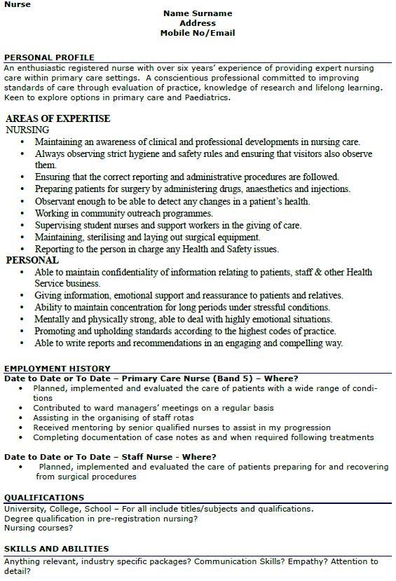 surprising nursing resume sample 16 nursing cv template nurse ...