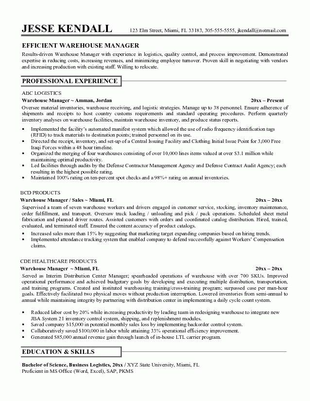 warehouse associate resume. warehouse worker sample resume 14 ...