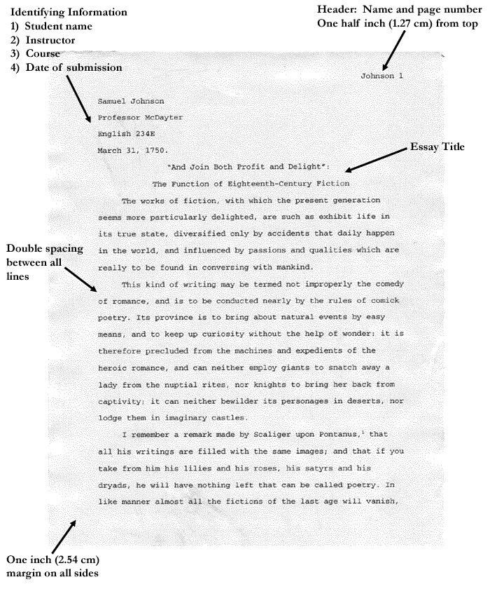mla style page format common app essay title