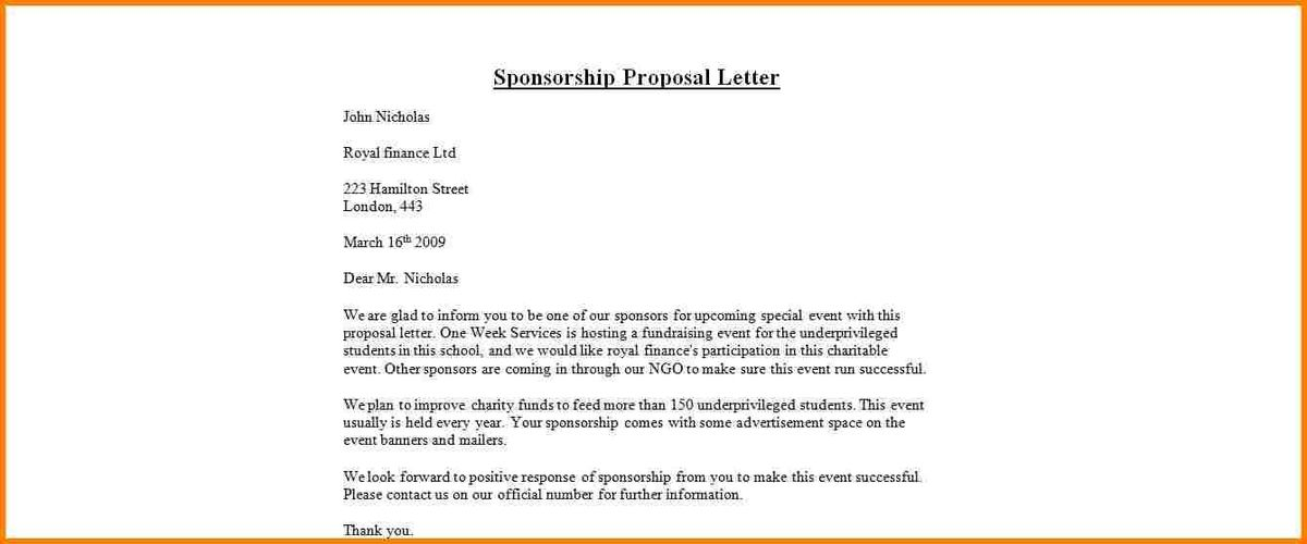 Sponsorship Proposal Letter. 16 Corporate Sponsorship Letter ...