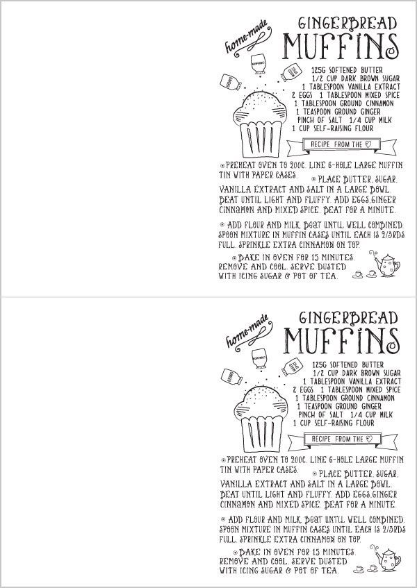 Free Printable - Hand Drawn Illustrated Christmas Recipe Greeting ...
