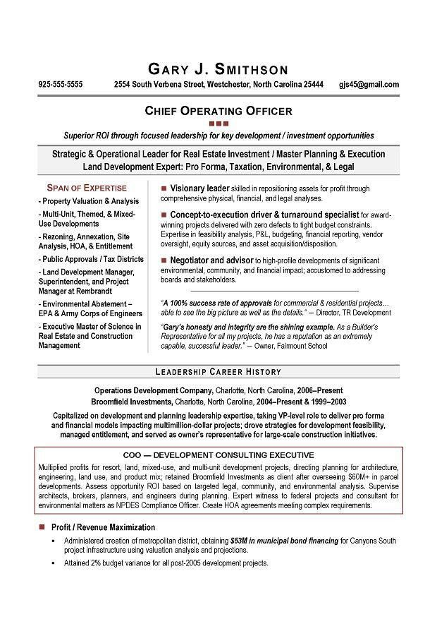COO Sample Resume - Resume writers Atlanta, DC, San Diego, Boston ...