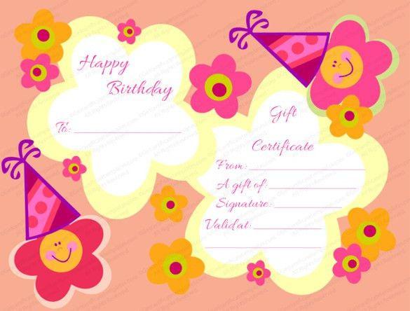 Happy Birthday Certificate Templates. printable birthday bash gift ...
