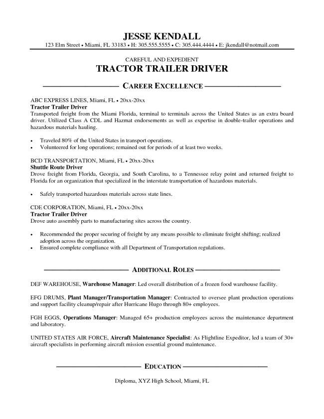 Simple Tractor Trailer Driver Resume Sample : Vinodomia