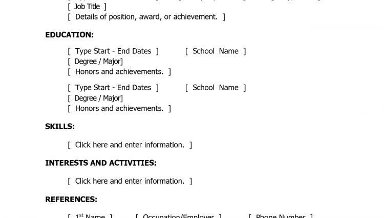 basic resume templates free easy resume template free basic - Free Easy Resume Templates