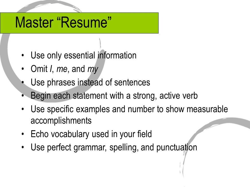 """Resumes and Application Letters. Master """"Resume"""" Use only ..."""