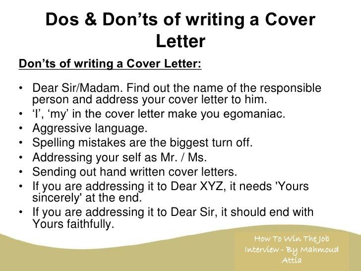the dos and donts of cover letter writing. cover letter dos and ...
