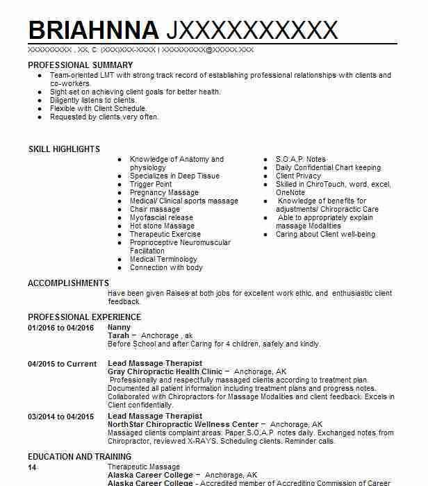 Best Lead Massage Therapist Resume Example | LiveCareer