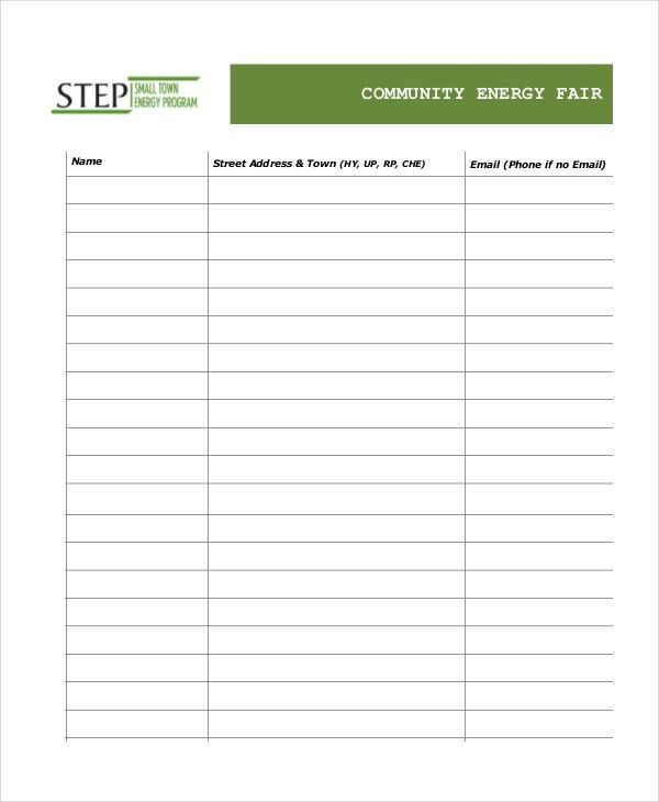 Event Sign In Sheet Template - 8+ Free Word, PDF Documents ...