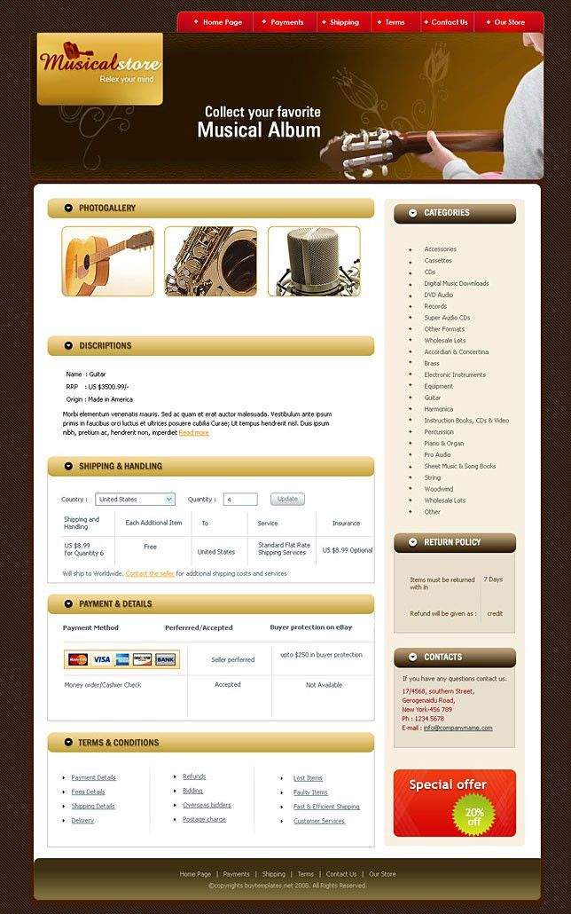 Ebay shop templates for musical stores