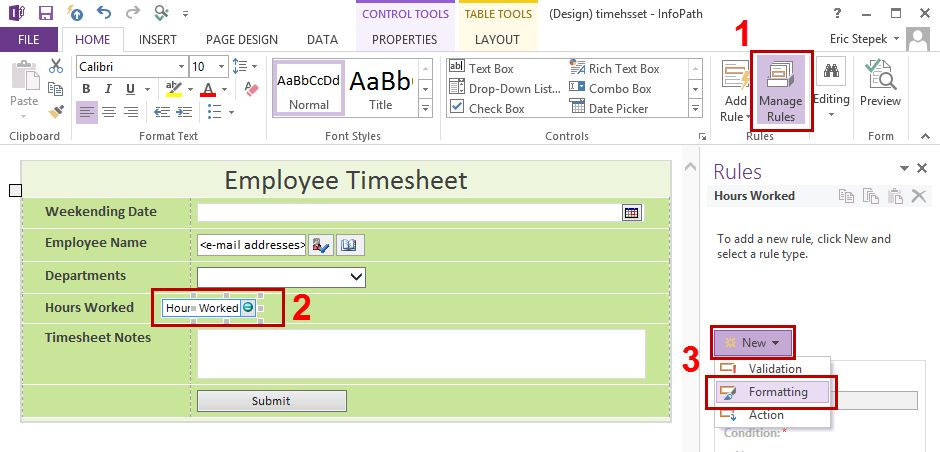 Creating the Employee Timesheet Form in SharePoint