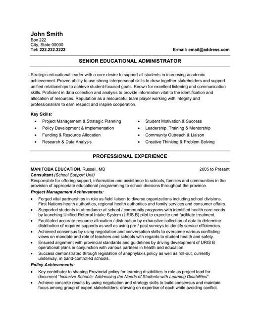 Resume Examples. resume template for education experienced teacher ...