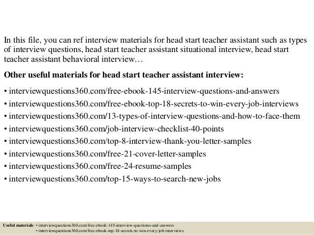 Top 10 head start teacher assistant interview questions and answers