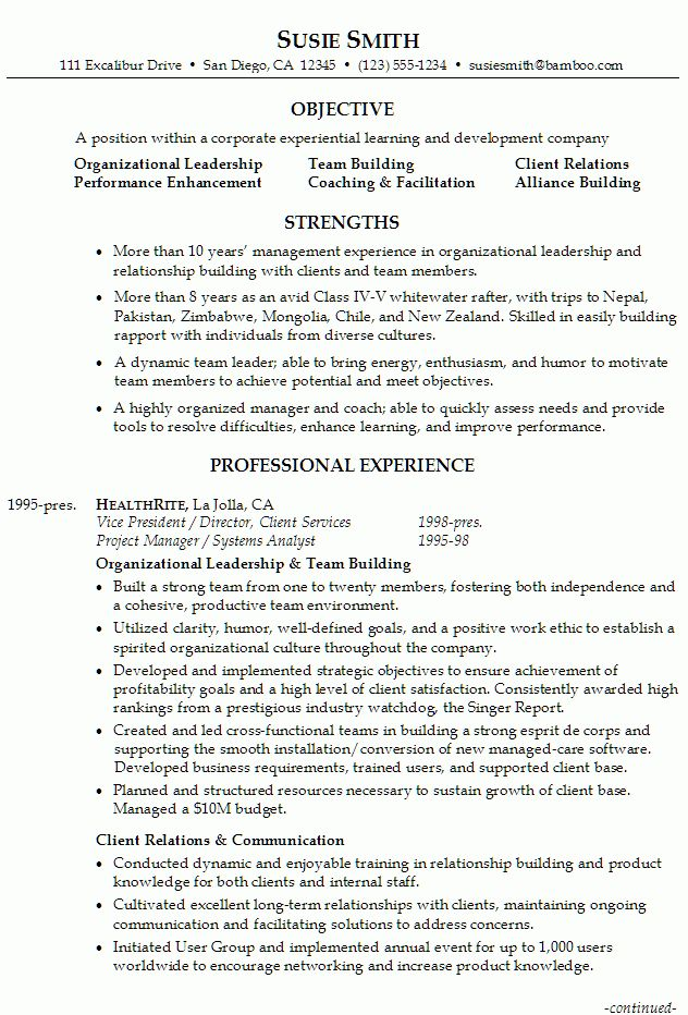 Resume for Executive Management/Supervision - Susan Ireland Resumes