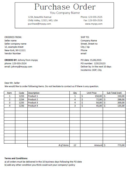 Excel Template - Classic looking Purchase Order Template for ...