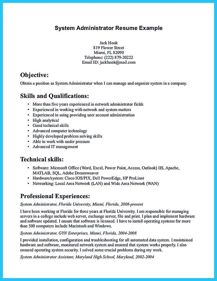 network administrator resume objective network administrator