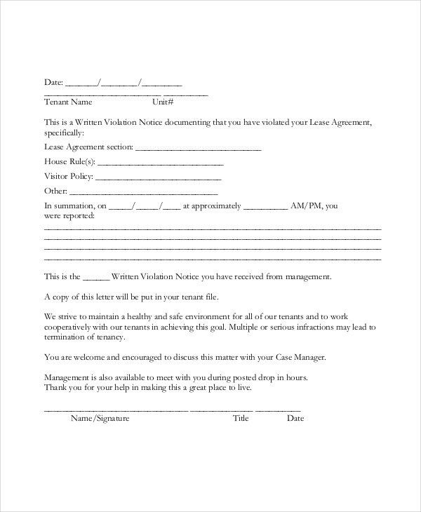 Tenant Warning Letter Template - 6 +Free Word, PDF Format Download ...