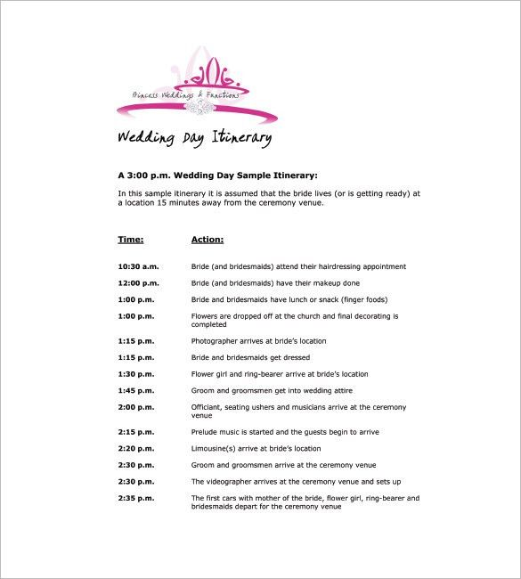 9+ Wedding Agenda Templates - Free Sample, Example, Format ...