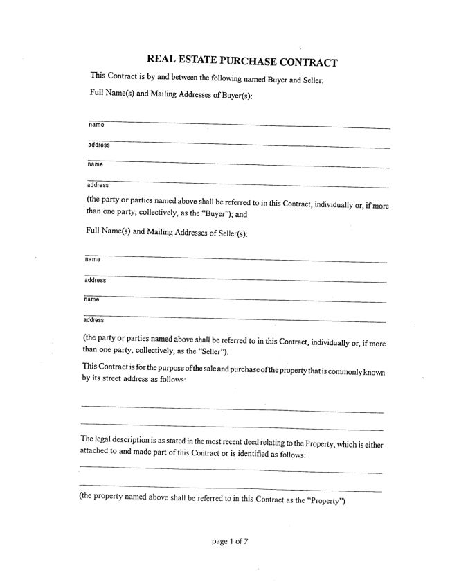Brilliant Real Estate Purchase Contract Form Template Between Two ...