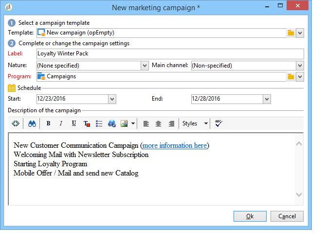 Setting up marketing campaigns