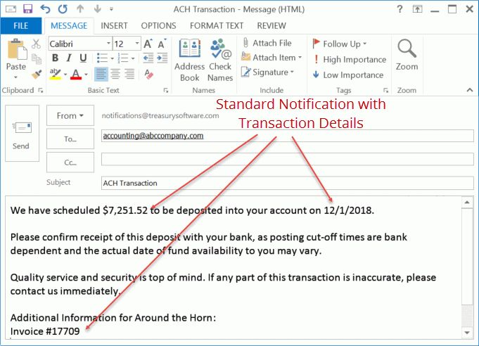 ACH Remittance with Email Notification