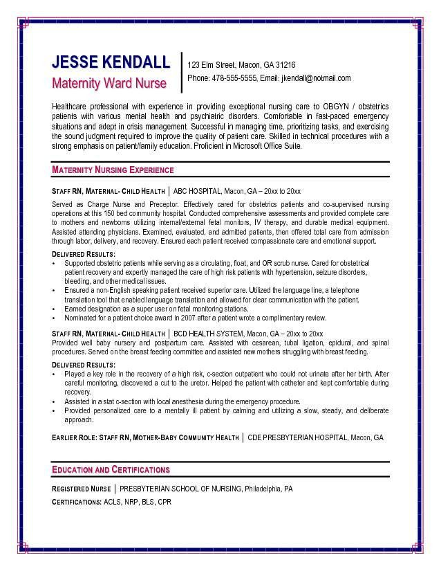 Free Maternity Ward Nurse Resume Example