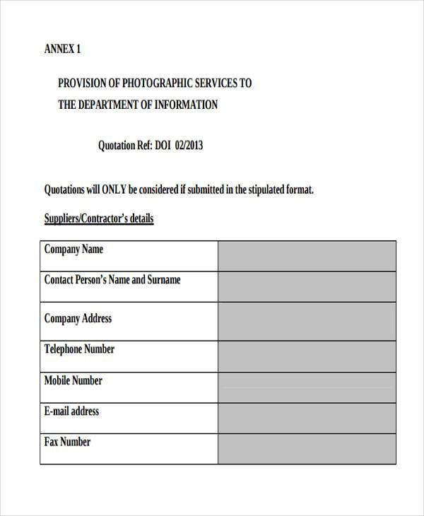 Service Quotation Templates - 6 Free Word, PDF Format Download ...